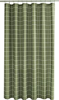 Biscaynebay Textured Fabric Shower Curtains, Checkered Printed Bathroom Curtains, Sage 72 by 72 Inches