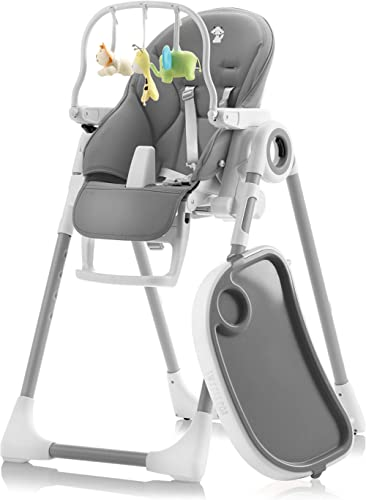 Sweety Fox - Baby High Chair Dark Grey - Adjustable to 7 Different Heights and 5 Different seat Positions - High Chai...