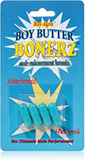 Boy Butter Bonerz - Natural Testosterone Booster for Men - Clinically Proven Herbal Male Enhancing Pills for Men - Powerfu...