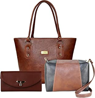 5fa0e93a64 Flora Premium PU Leather Women's Handbag With Sling Bag And Hand Clutch  Combo Of 3 (