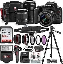 Canon EOS Rebel SL3 DSLR Black Digital Camera with EF 75-300mm f/4-5.6 III Lens + 64GB + Cases + Tripods + Premium Accessory Bundle