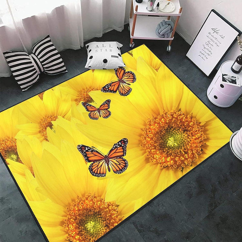 Sunshine Sunflowers Butterfly Area Rug Fort Worth Mall Floor Carpets Ma Non-Slip Latest item