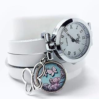 Orologio multi-fila cabochon cuoio- Bianco - farfalla - Regalo di Natale per idea regalo moglie - San Valentino-(ref.44a) FBA