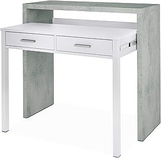 Habitdesign 0L4582A - Mesa de Escritorio Extensible Mesa Estudio Consola Medidas: 985 x 875 x 36-66 cm de Fondo (Blanc...