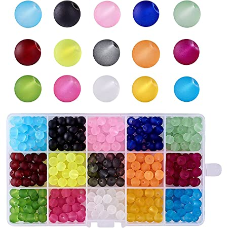 A37//6 Transparent Frosted Round Glass Bead Dark Blue 8mm Pack of 10