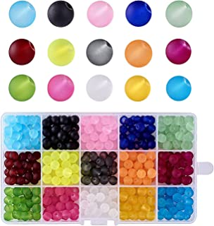 Kissitty About 400pcs/box 15 Color Transparent Frosted Glass Round Beads Set 8mm for Jewelry Craft Making with Container