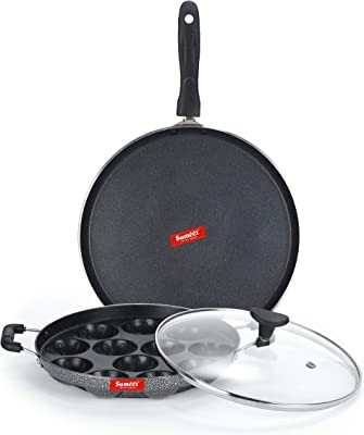 Sumeet NonStick Argent Cookware Set (Dosa Tawa - 26.5Cm Dia + Grill Appam Patra with Glass Lid - 12 Cavity - 22cm Dia)
