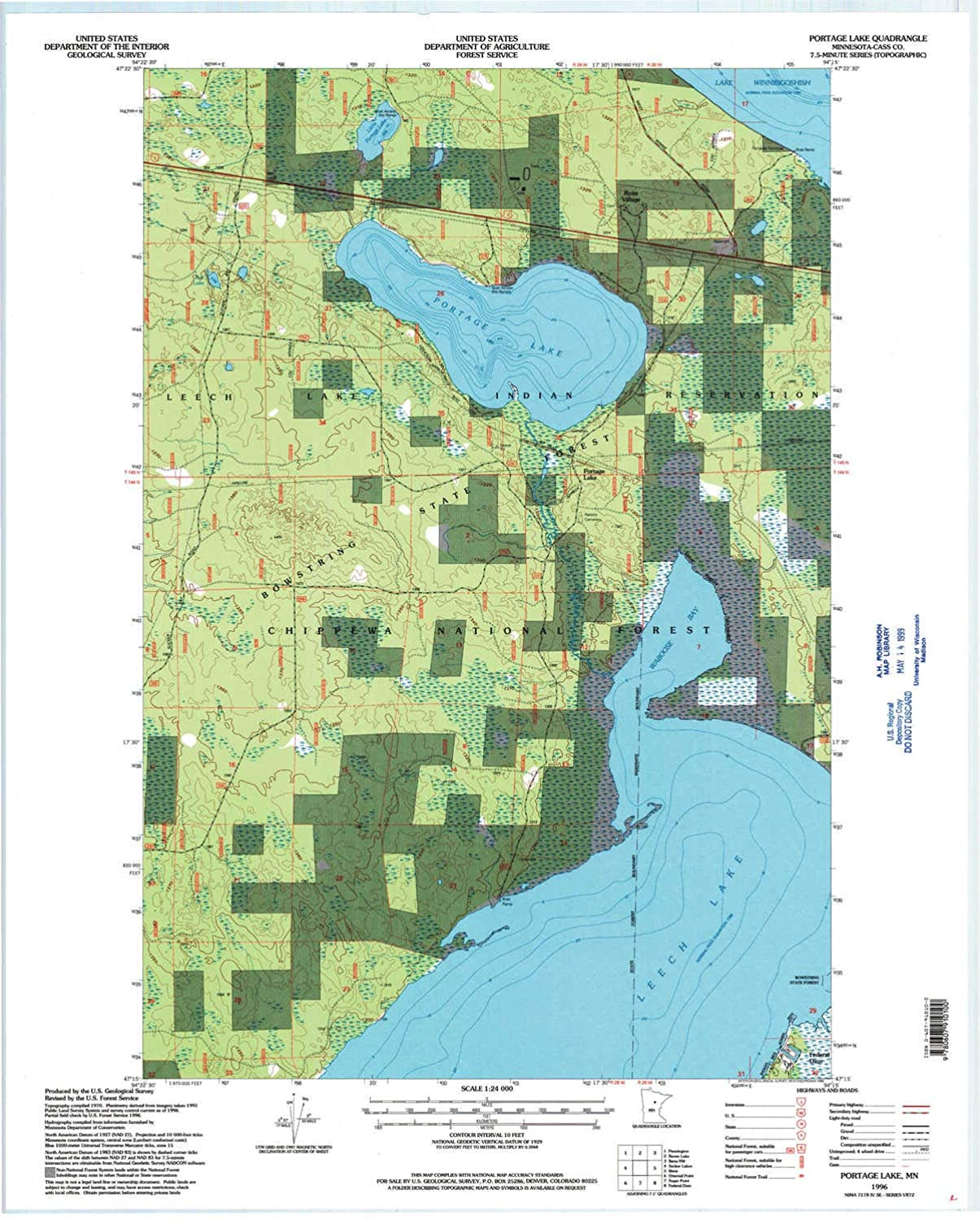 Portage Lake MN topo map, 1 24000 Scale, 7.5 X 7.5 Minute, Historical, 1996, Updated 1998, 27.23 x 21.53 in
