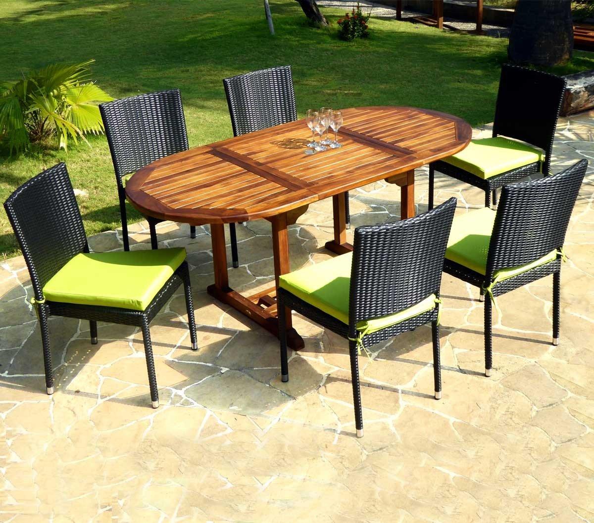 Salón en Teca barnizada 6 plazas – sillas de jardín en Resina Trenzada: Amazon.es: Jardín