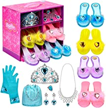 Princess Dress Up Shoes Set Girls Role Play Shoes Pretend Jewelry Toys Set Gift Set 4 Pairs of Shoes Kit Collection of Tia...