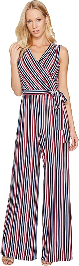 Donna Morgan - Metallic Stripe Wrap Jumpsuit