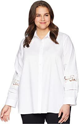 Plus Size Boyfriend Blouse w/ Lace Detail