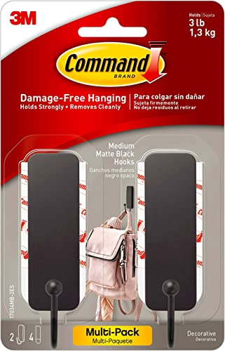 Command 17034MB-2ES Medium Matte Black Decorative, 2 Hooks Per Pack, Great for Dorm Decor