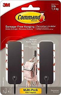 Best Command Medium Matte Black Decorative Hook, 2 Hooks Per Pack, 17034MB-2ES, Decorate Damage-Free Review