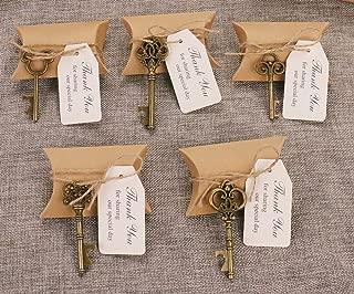 50pcs Wedding Favors Candy Box w/ Antique Skeleton Key Bottle Openers Escort Card Thank You Tag Pillow Box (Key Style - Mixed Bronze)