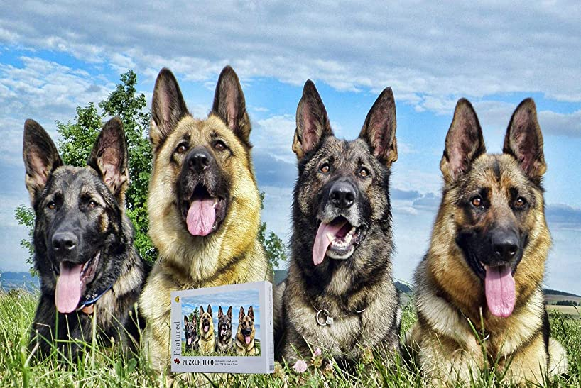 Geekpuz German Shepherd 1000 Pieces Wooden Challenge Jigsaw Puzzles Difficult Photography Puzzles for Adult