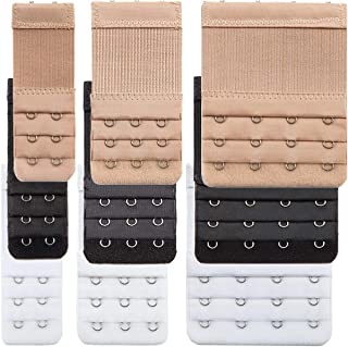 9 Pieces Bra Extender Bra Strap Extension Women's Elastic Extenders, 3 Colors (3 Rows x 2 Hooks, 3 Rows x 3 Hooks, 3 Rows ...