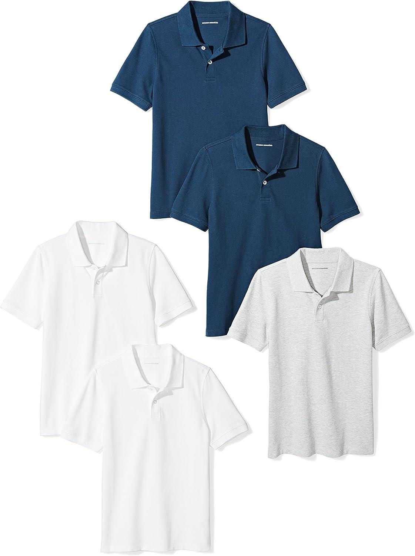 Amazon Essentials Boys' Uniform Short-Sleeve Pique Polo Shirts