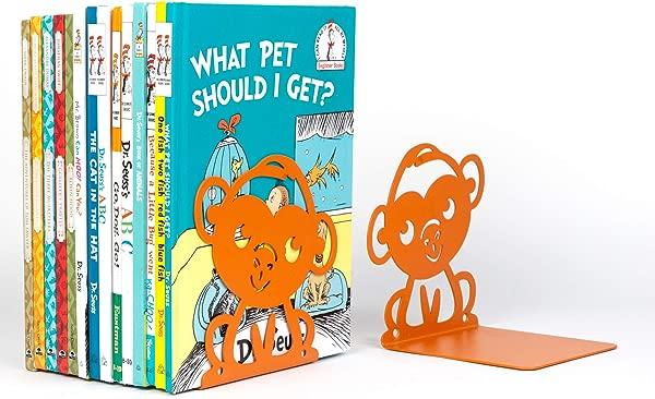 Wallniture Bookends Nursery And Kids Room Book Holder Organizer Animal Themed Floating Shelf Nonskid Metal Orange Set Of 4