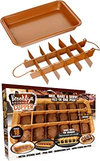 Brooklyn Brownie Copper by Gotham Steel Nonstick Baking Pan with Built-In Slicer, Ensures Perfect Crispy Edges, Metal Utensil and Dishwasher Safe
