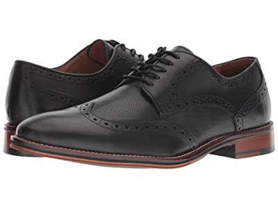 Johnston & Murphy Conard Embossed Wingtip (Black Italian Calfskin) Men
