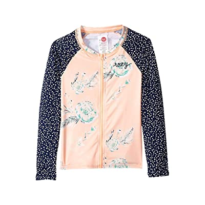 Roxy Kids Long Sleeve Zipped Fashion Rashguard (Big Kids) (Souffle Flowers in the Air Swim) Girl