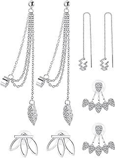 4 Pairs Lotus Flower Earrings for Women Girls Tassel Threader Dangle Earrings Set