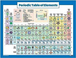 1 ورقة الجدول الدوري للعناصر العلم والكراسة ملصق تعليمي 43 × 56 سم / 16.9 × 22 بوصة للمنزل مكتب الصف