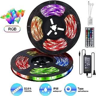 LED Strip Lights Kit 32.8ft LED Light Strip 300LEDs SMD 5050 12V 5A Power Supply IP65 Waterproof RGB Flexible Tape Light Kit with Sensitive Reaction 44Key Remote Controller &Strengthen 2.5M Tape