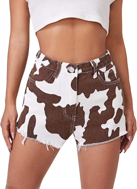 Floerns Women's Raw Hem High Waist Denim Shorts with Pocket