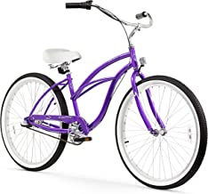 "Firmstrong Urban Lady 3-Speed 26"" Beach Cruiser Bicycle, Purple w/ White Seat"