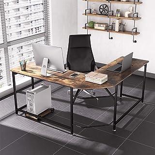 Dripex Bureau d'angle 155 x 155 x 75 cm, Bureau Bois et Métal, Table de Bureau en Forme L - Marron Rustique