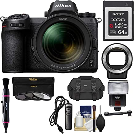 $3599 Get Nikon Z7 Mirrorless Digital Camera & 24-70mm f/4 S Lens with Mount Adapter FTZ + 64GB XQD Card + Case + Remote + Flash & LED + 3 Filters + Kit