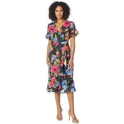 eci Flutter Sleeve Wrap Chiffon Dress Ruffle Hem (Black/Multi) Women