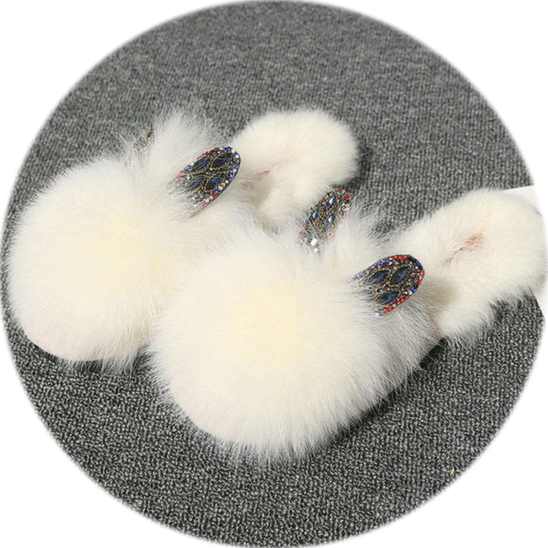 2019 Autumn Double Heart Rhinestone Ear Natural Rabbit Fur Headgear Slippers