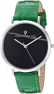 Christian Van Sant Women's Lotus Stainless Steel Quartz Leather Calfskin Strap, Green, 15.7 Casual Watch (Model: CV0421)