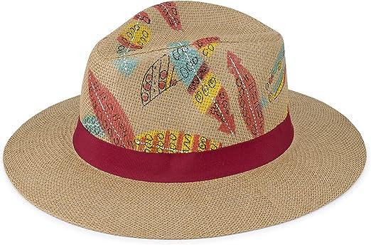 Sowift Hand Painted Straw Hat for Women Beach Hats Summer Sun Panama Wide Brim Floppy Fedora Cap UPF50