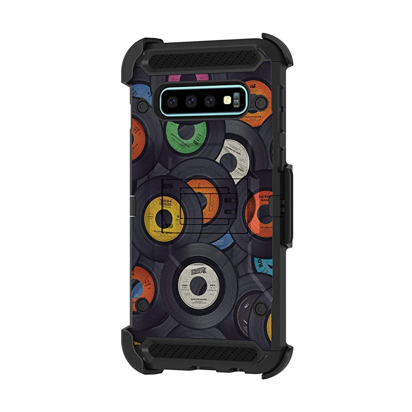 TurtleArmor | Compatible for Samsung Galaxy S10+ Case | S10 Plus Case | G975 [Armor Pro] Full Body Coverage Case Rugged Hybrid Armor Holster Belt Clip Music - Vintage Record Discs