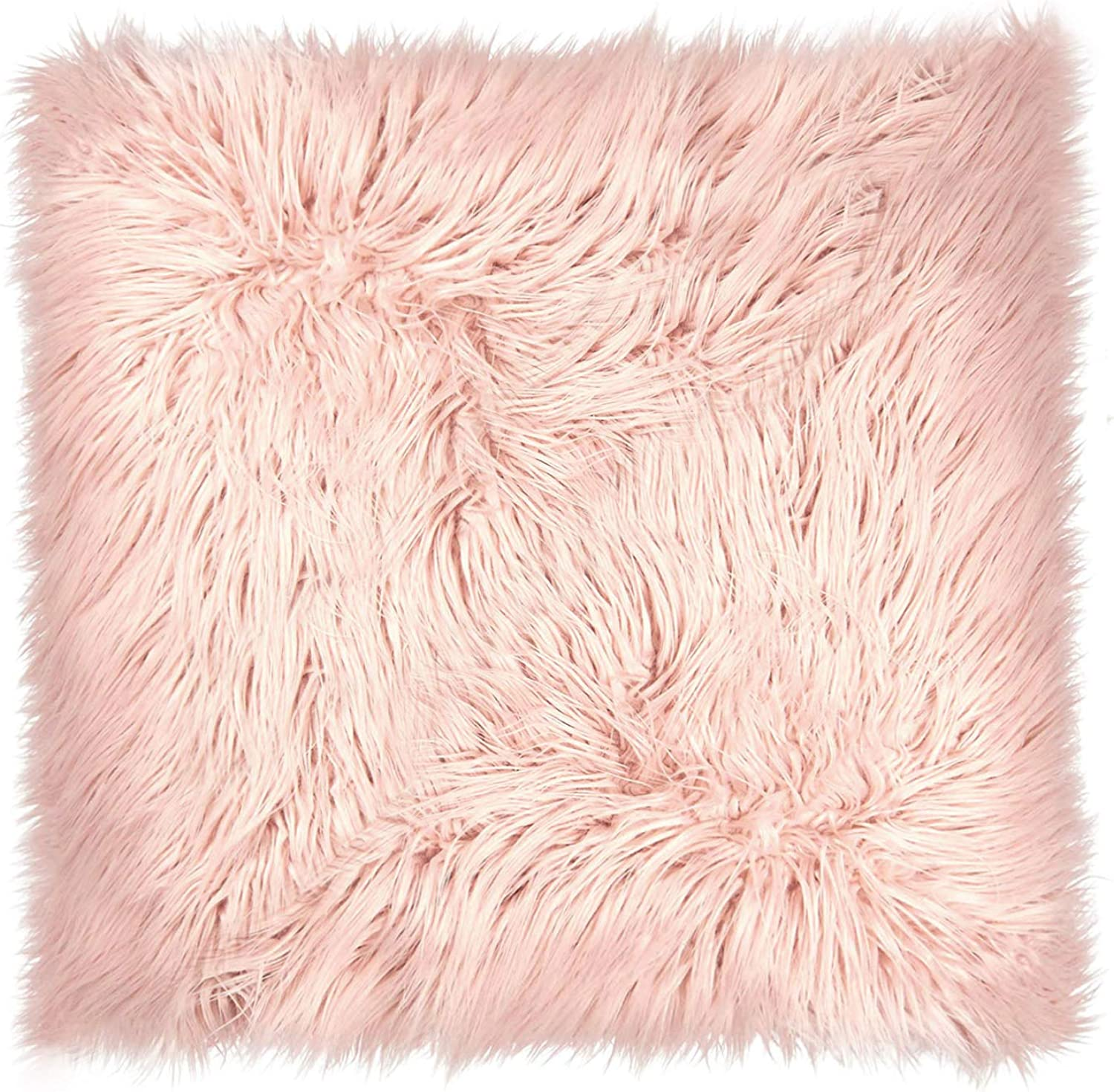 Dormify Faux Fur Mongolian Euro Pillow, Trendy Oversized Throw Pillow or Floor Pillow, for Fashion-Minded and Small-Space Decorating - Dusty pink