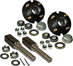 Rigid Hitch Pair of 4-Bolt on 4 Inch Hub Assembly (AKSQ-200044) Includes (2) Square Shaft 1 Inch Straight Spindles & Bearings