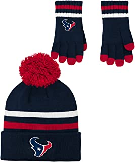 NFL Houston Texans 4-7 Outerstuff 2 Piece Knit Hat and Gloves Set, Team Color , Youth One Size