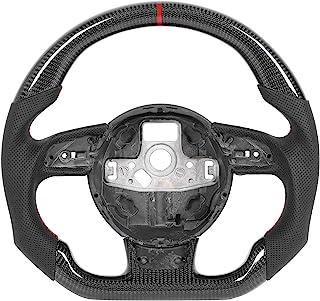 Volante de corrida, design de corrida de fibra de carbono, parte inferior plana, volante de reposição para carro Nappa de ...