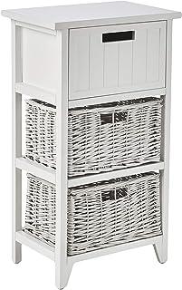 Marca Amazon - Movian - Mueble de almacenamiento con cajones de mimbre 40 x 28 x 71 cm blanco