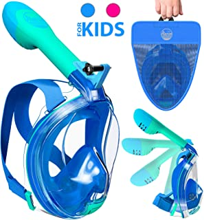 Aleoron - Foldable Full Face Snorkel Mask for Kids (Boy & Girl) - Anti Fog Kids Snorkeling Mask with Action Camera Mount Set - Panoramic 180 Swim Mask Seaview Scuba Diving Mask Easybreath