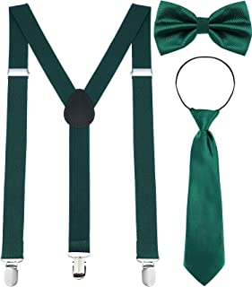 Y Back Suspender, Pre-tied Bowtie, Green Clover Necktie for St. Patrick's Day Costume Accessory