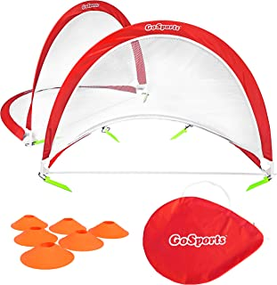GoSports Pop Up Soccer Goals for Backyard - Set of 2 Nets with Agility Training Cones and Carrying Case (Choice of Style)