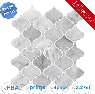 Carrara White Marble Arabesque Tiles Polished
