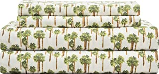 Elite Home Products 90 GSM Microfiber Coastal Beach-Themed Printed Sheet Set, California King, Palm Tree Ivory