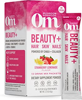 Om Mushroom Superfood Drink Mix Packets, Beauty Plus, Strawberry Lemonade, 2.1 Ounce, Chaga, King Trumpet, Maitake, Cordyc...