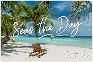 Puerto Rico - Seas The Day - Beach Lounger and Palms 99753 (6x9 Aluminum Wall Sign, Wall Decor Ready to Hang)